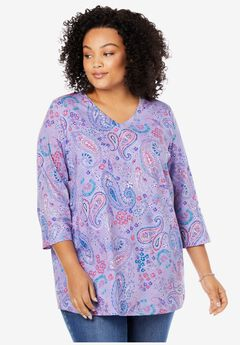 Perfect Printed V-Neck Three-Quarter Sleeve Tee,