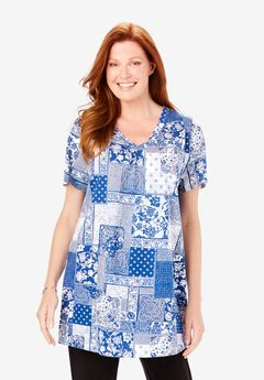 Perfect Printed Shirred V-Neck Tunic, DEEP COBALT PATCHWORK