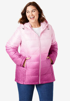Packable Puffer Jacket, RASPBERRY OMBRE