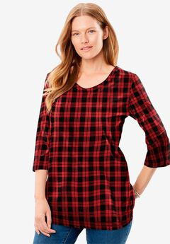 Perfect Printed Three-Quarter Sleeve V-Neck Tee, CLASSIC RED PLAID
