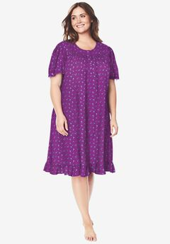 Short Floral Print Cotton Gown by Dreams & Co.®, FRESH BERRY FLOWERS
