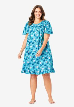 Short Floral Print Cotton Gown by Dreams & Co.®, CARIBBEAN BLUE ROSES