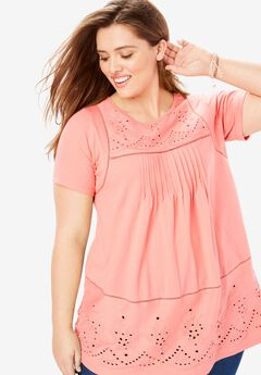 Embroidered Eyelet Knit Pintucked Tunic,