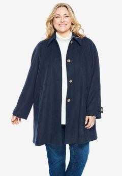 Wool-Blend Classic A-Line Coat, NAVY
