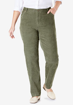 Corduroy Straight Leg Stretch Pant, OLIVE GREEN