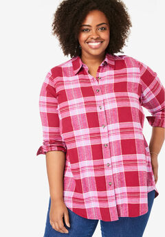 Classic Flannel Shirt, CLASSIC RED MULTI PLAID