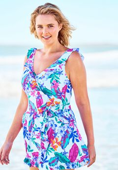 Faux-Wrap Swim Dress,