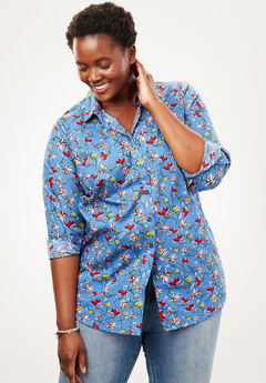 Perfect Long-Sleeve Button Down Shirt, DUSTY INDIGO WAVY FLORAL