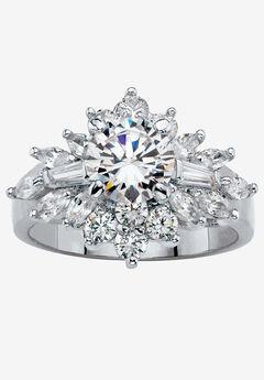 Platinum Plated Round Cluster Ring Cubic Zirconia (3 5/8 cttw TDW),