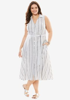 Striped Linen Shirtdress with Collar,