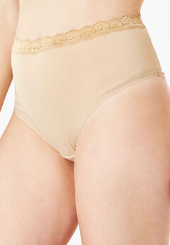 Lace-Trim Microfiber Full-Cut Brief by Comfort Choice®, NUDE