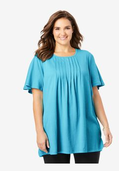 Pleat-Front Gauze Tunic,