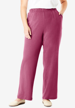 7-Day Knit Wide Leg Pant, DEEP CRANBERRY