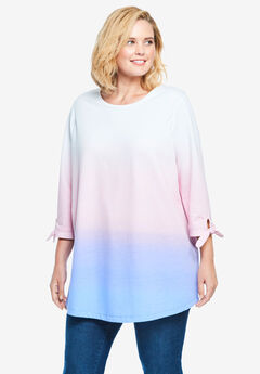 French Terry Tie-Sleeve Sweatshirt,