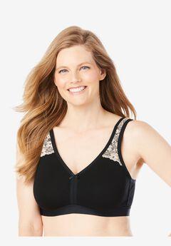 Comfort Strap Wireless Lace-Trim Bra by Comfort Choice®, BLACK