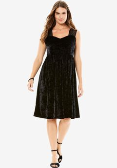 Crushed Velour Sweetheart Dress by Chelsea Studio® ,