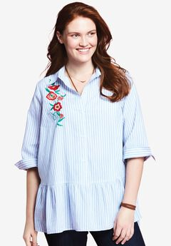 Embroidered Blouse by Chelsea Studio®, BLUE WHITE STRIPE