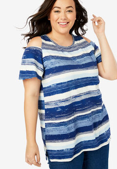 Short Sleeve Cutout Cold-Shoulder Tee, BLUE PAINTED STRIPE