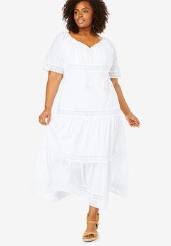 434cd085eb3bd Crochet Trim Tassel-Tie Dress. Woman Within