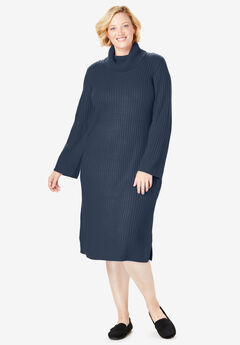 Ribbed Turtleneck Sweater Dress, NAVY