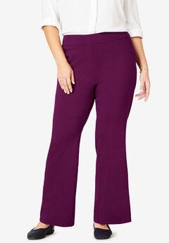 Micro Twill Wide Leg Pull-On Pant, DARK BERRY