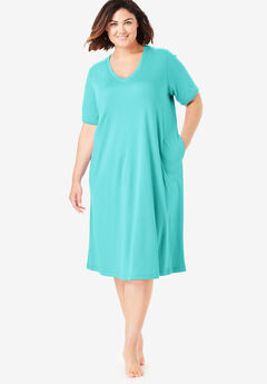 Short T-Shirt Lounger by Dreams & Co.®, GREEN TURQUOISE