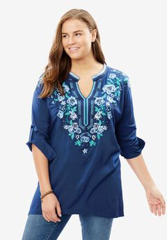 Notch-Neck Embroidered Roll-Sleeve Tunic,