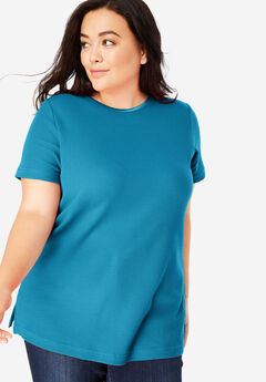 Satin-Trimmed Crewneck Thermal Tee, RIVER BLUE