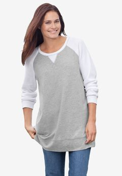 Thermal & Terry Colorblock Tunic, HEATHER GREY