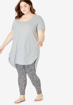 High-Low Tunic PJ Set by Dreams & Co.®, HEATHER GREY CHEETAH