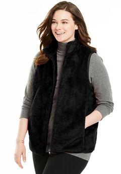 Fluffy Fleece Vest, BLACK