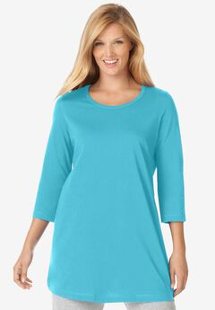 Perfect Scoop Neck Three-Quarter Sleeve Tunic,