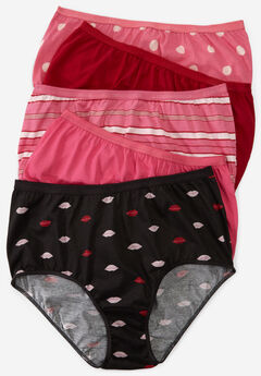 5-Pack Pure Cotton Full-Cut Brief by Comfort Choice®, KISSES DOT PACK