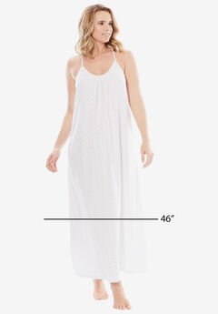 Breezy Eyelet Knit Long Nightgown by Dreams & Co.®, WHITE