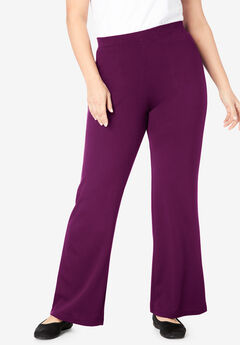 Wide Leg Ponte Knit Pant, DARK BERRY