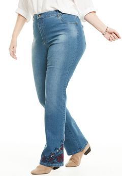 Bootcut Stretch Jean, CHERRY RED ROSE EMBROIDERY