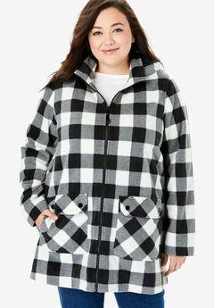 Hooded Mock Neck Fleece Coat, BUFFALO PLAID