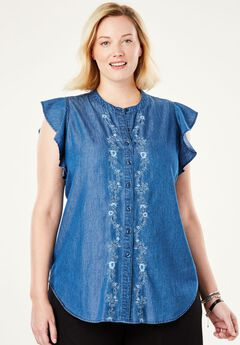 d9e01726fb1 Pintucked Button-Down Tunic by Chelsea Studio®