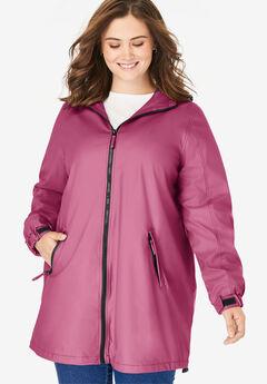 Hooded Slicker Raincoat, DEEP CRANBERRY