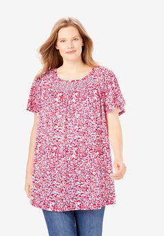 Smocked Neck Top,
