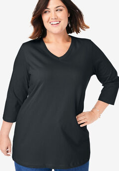 V-Neck Three-Quarter Sleeve Perfect Tee,