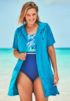 Hooded Terry Swim Cover Up by Swim 365,