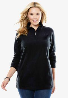 Quarter-Zip Microfleece Pullover, BLACK