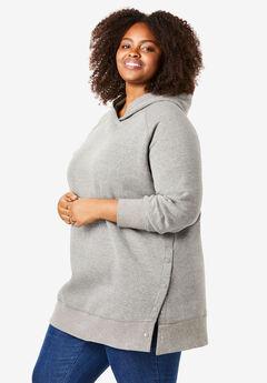 Snap Detail Hooded Sweatshirt, MEDIUM HEATHER GREY