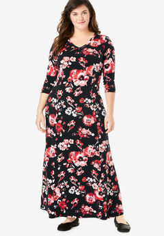 Maxi Dress, BLACK FLORAL BLOOM