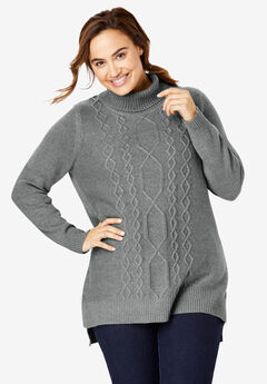 Mixed Cable Cowlneck Sweater,