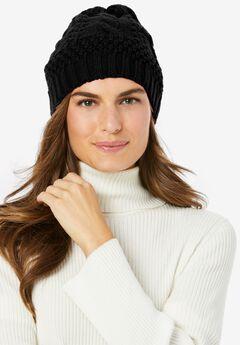 Cable Knit Hat, BLACK