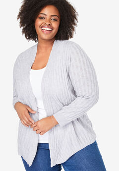 Open Front Cable Cardigan, HEATHER GREY