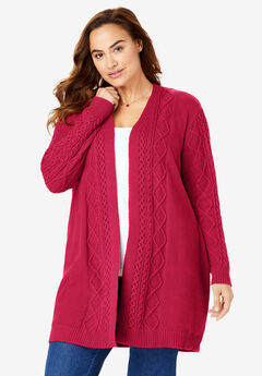 Open Front Cable Knit Cardigan, CLASSIC RED
