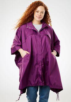 Packable water-resistant rain cape with zip top bag,